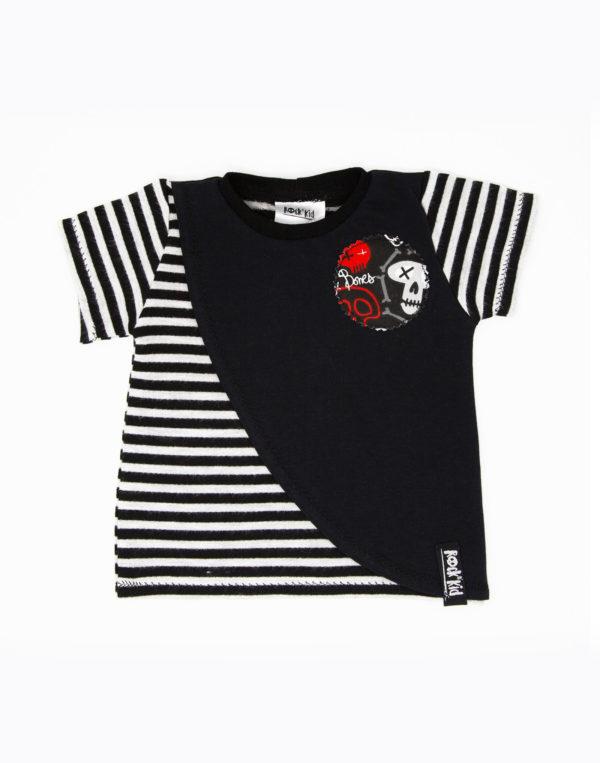 T-shirt à rayures et pan asymétrique