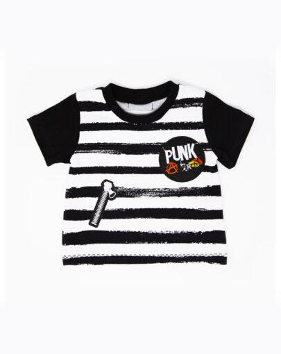 T-shirt punk à rayures et patchs