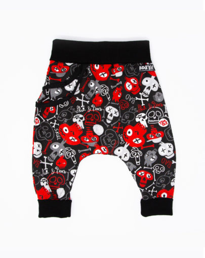 Sarouel bébé coton skull rouge et noir
