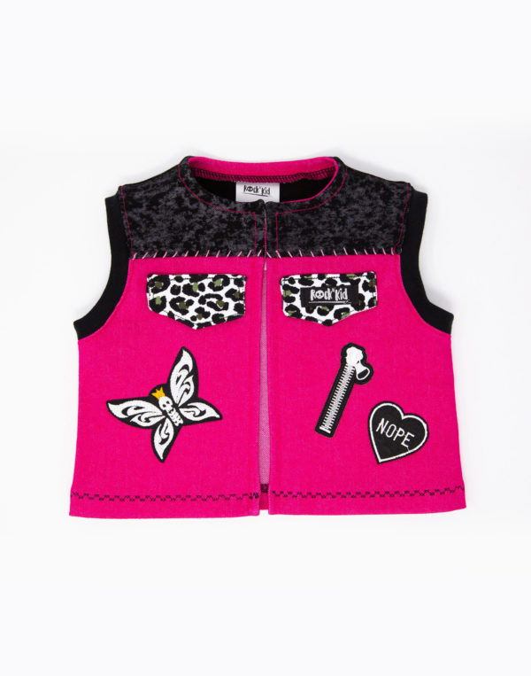 Veste à patchs pour bébé en jean rose