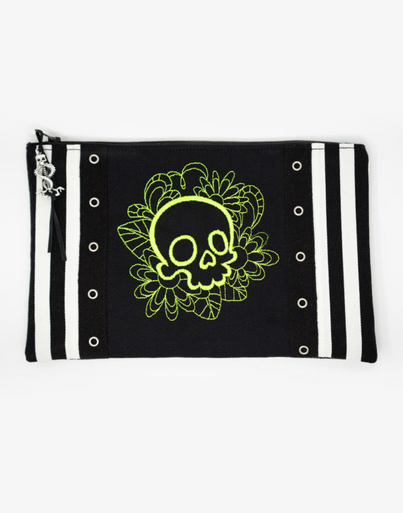 Trousse skull neon brodée cousue main