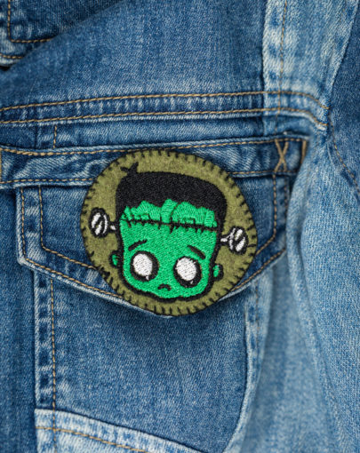 Broche brodée frankenstein faite main