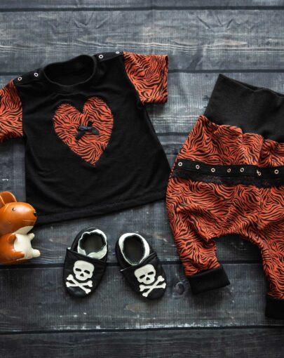 Sarouel Tshirt bébé rock adaptable cousu main